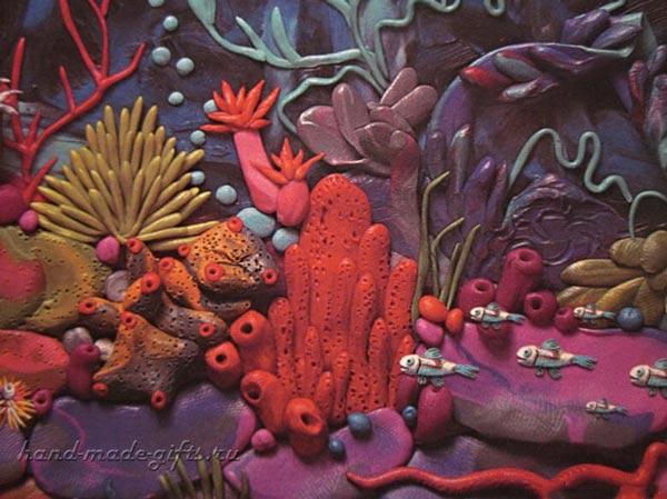 пластилинография лепка, картины из пластилина, кораллы, рыбки, подводный мир, море, океан