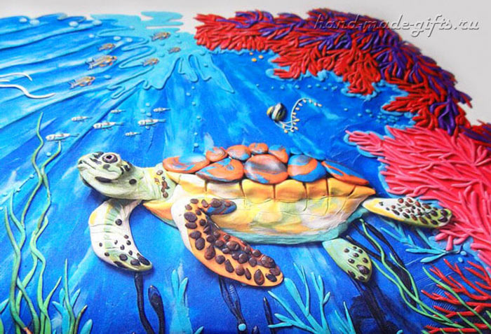 картины из пластилина взрослых, картины из пластина море океан, подводный мир, пластилинография, лепка из пластилина