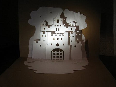 замок киригами открытка
