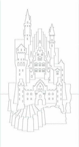 киригами замок шаблон схема