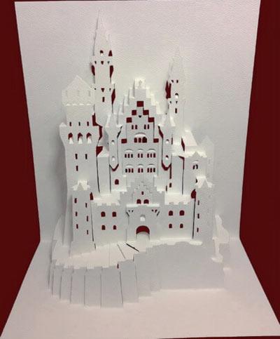 киригами замки архитектура открытки pop up
