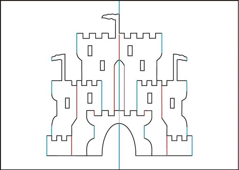 замки киригами шаблоны схемы
