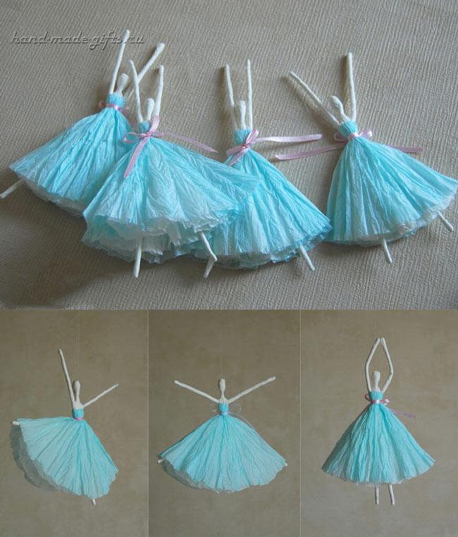 как сделать балерину из салфеток без проволоки