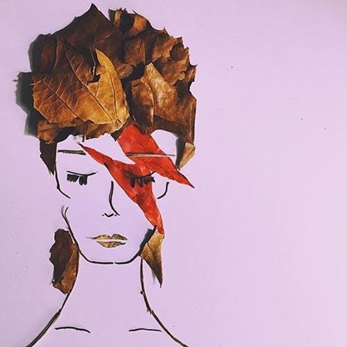 портрет Дэвид Боуи из природного материала, цветов