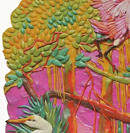 картины из пластилина, цапля