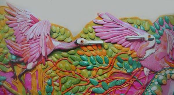 картины из пластилина, цапли, лес
