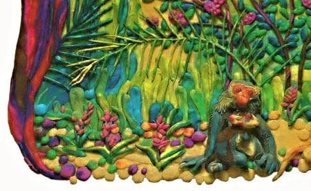 картины из пластилина, лемур