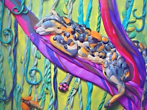 картины из пластилина, джунгли