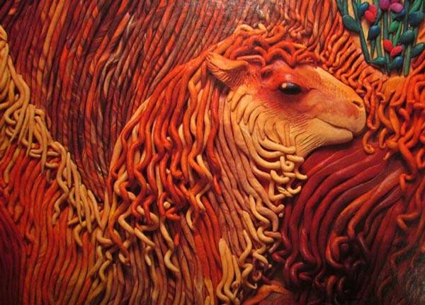 картины из пластилина, верблюды, верблюженок