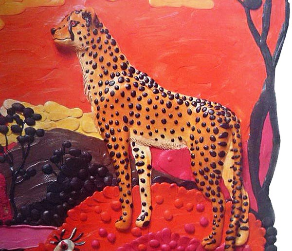 картины из пластилина, гепард