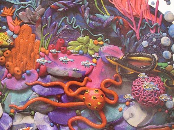 картины из пластилина, осьминог, рак, рыбки, море, кораллы, губки, осьминоги