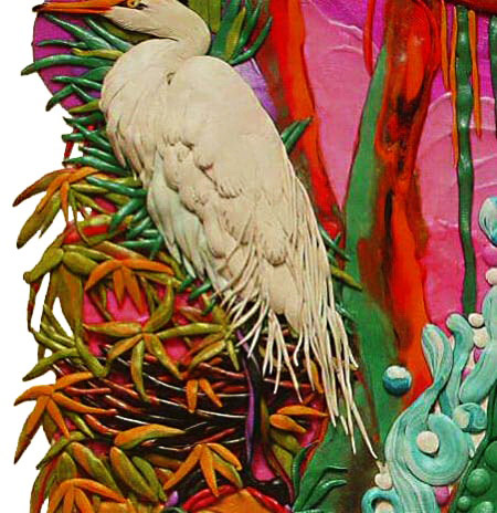 картины из пластилина, цапля, крокодил