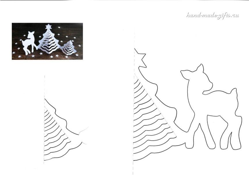 шаблон елочки из бумаги