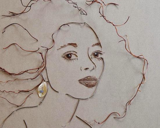 картины из веточек, листиков, портреты