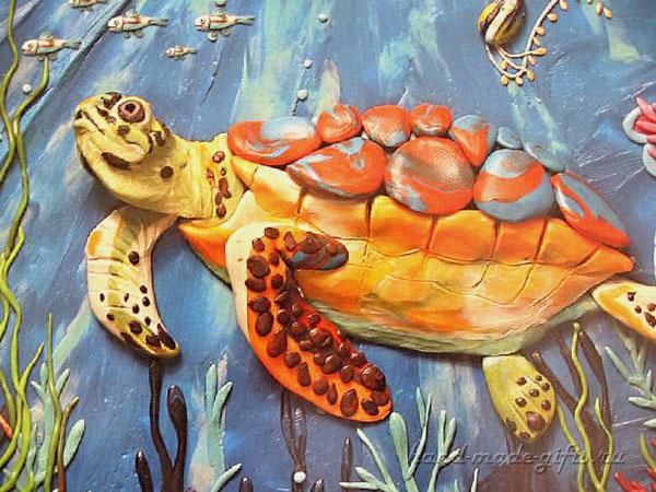 картины из пластилина черепаха, море, океан