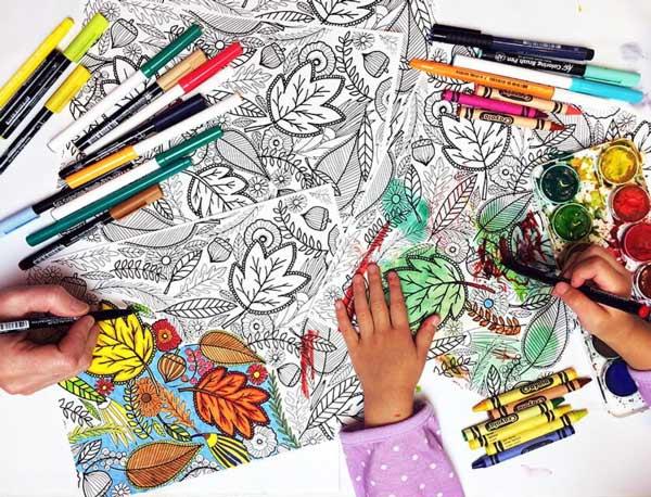 раскраски для взрослых осень