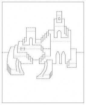 киригами замок схема шаблон