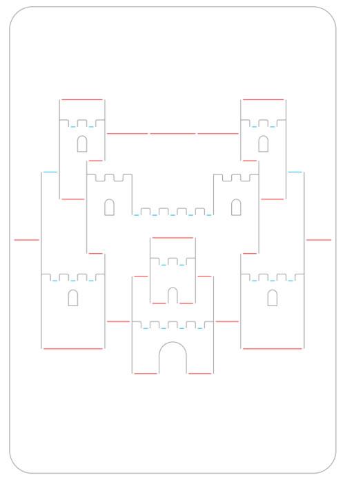 киригами замки шаблон схема