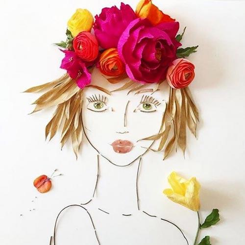 портрет из природного материала, цветов