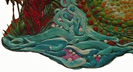 картины из пластилина, вода