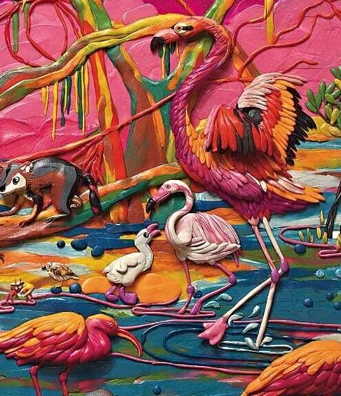 картины из пластилина, цапля, лемур, болото, лес
