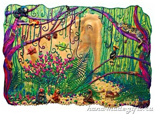 картины из пластилина, джунгли, слон