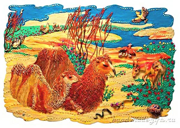 картины из пластилина, верблюды
