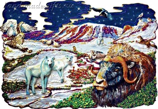 картины из пластилина, полярная ночь, буйвол, волки