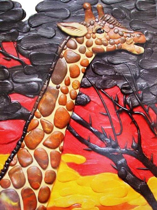 картины из пластилина, жираф