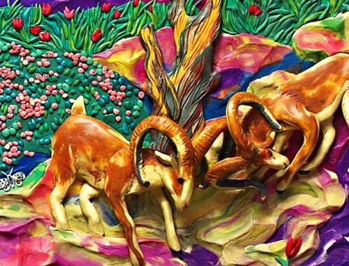 картины из пластилина, рогатые косули
