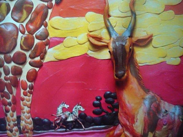 картины из пластилина, косуля