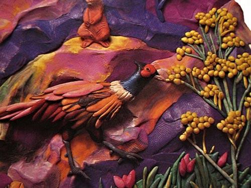 картины из пластилина, птица казуар