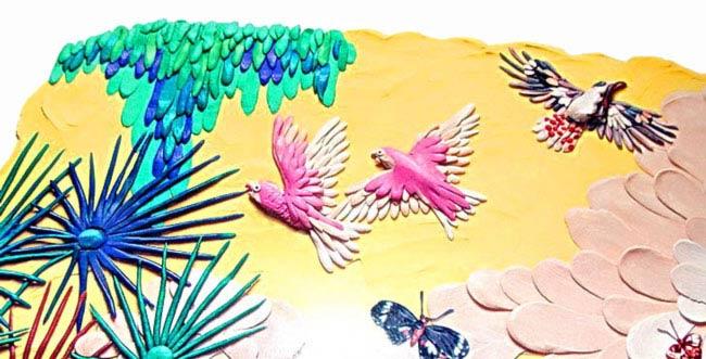 картины из пластилина, птицы