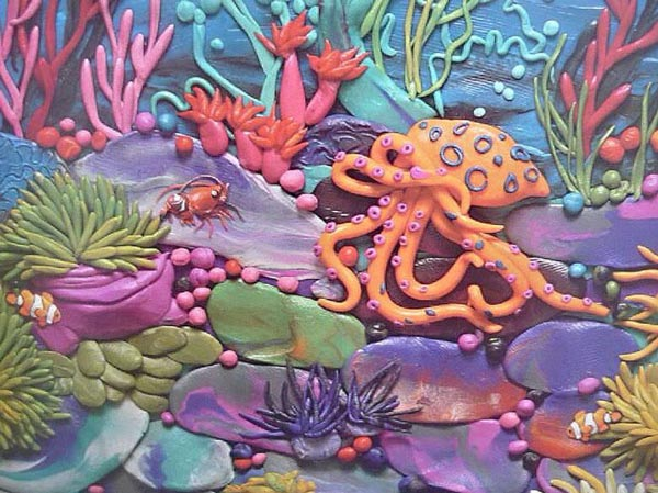 картины из пластилина, осьминог, рак, рыбки, море, кораллы, губки